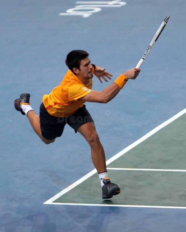 Novak DJOKOVIC (SRB) no BNP domina 2009 imagem de stock royalty free