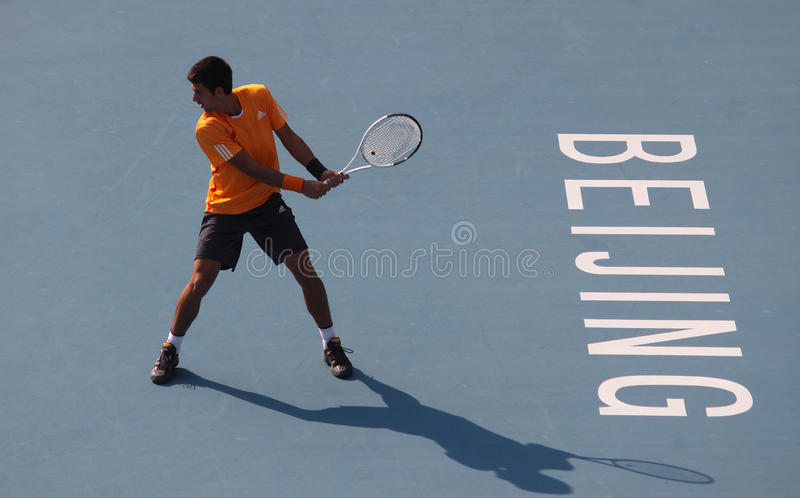 Novak Djokovic (SRB), professional tennis player. Novak Djokovic (SRB) at the China Open Tennis Tournament 2009 Photo taken at the National Tennis Center in royalty free stock photography