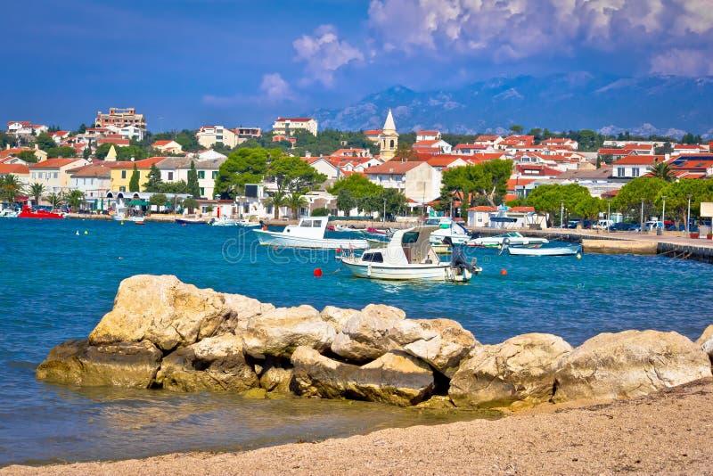 Novalja beach and waterfront on Pag island. Croatia royalty free stock photo