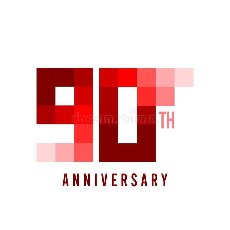 novantesima illustrazione di Vector Template Design del modello del pixel di anniversario illustrazione di stock