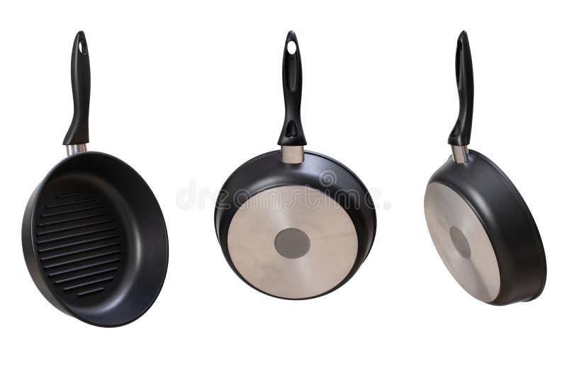 novas grelhas redondas isoladas em branco vista lateral e vista superior fotos de stock