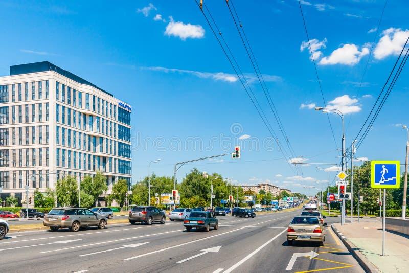 NOVATEK Företag byggnad i den Leninsky avenyn av Moskva royaltyfria bilder