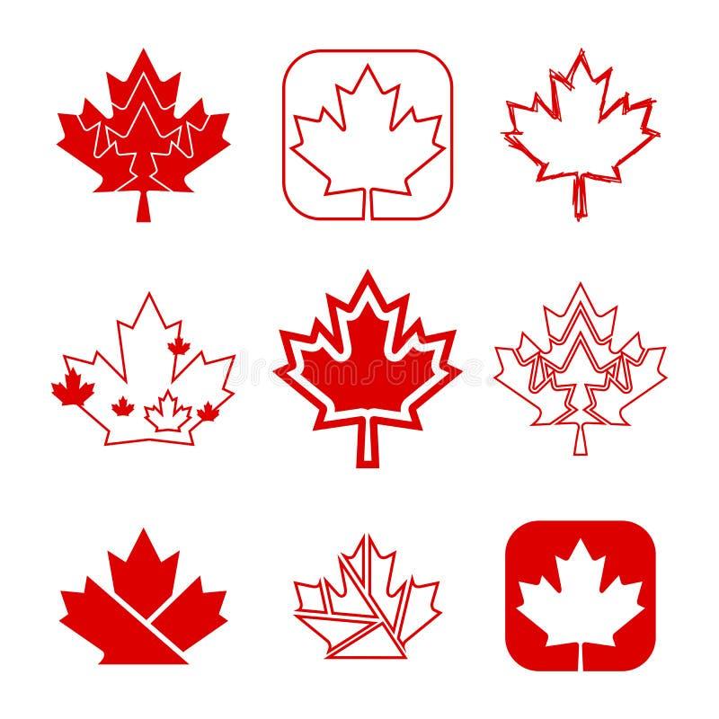 Nove ícones canadenses da folha de bordo foto de stock royalty free