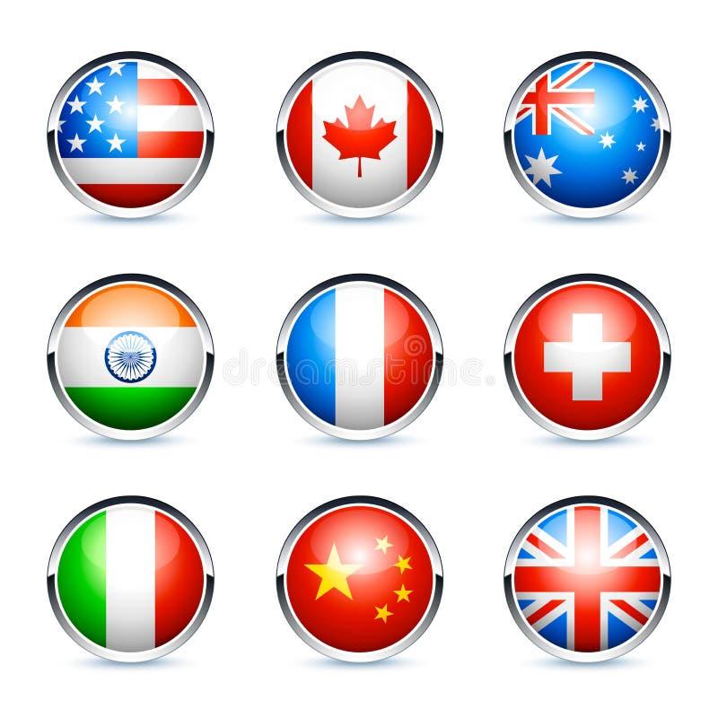 Nove ícones internacionais da bandeira ilustração stock