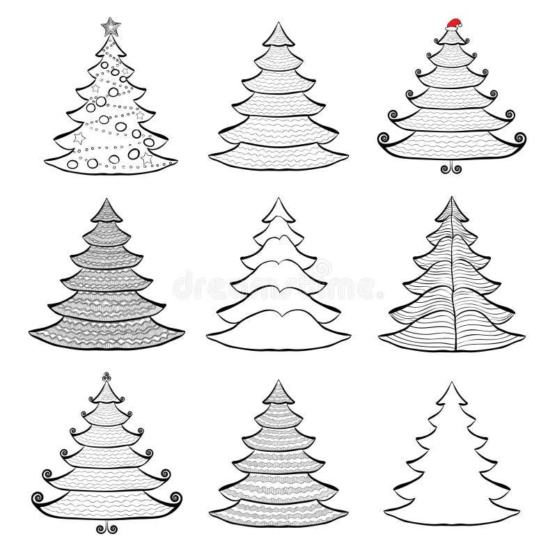 Nove alberi di Natale messi neri su bianco illustrazione di stock