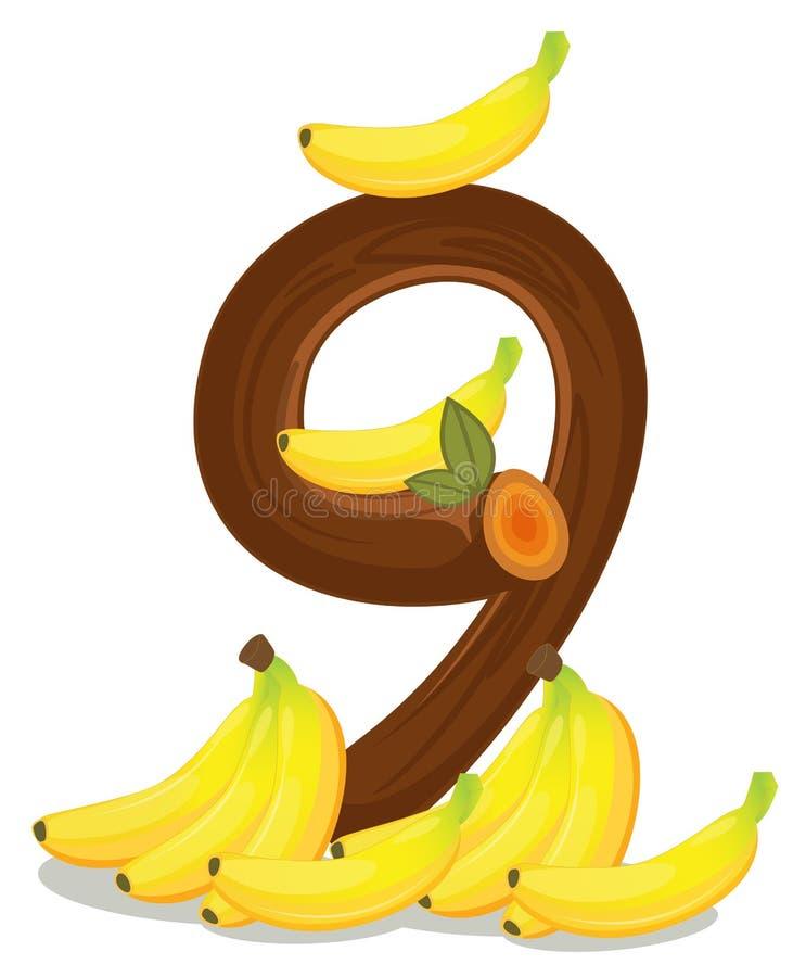 Nove bananas ilustração stock