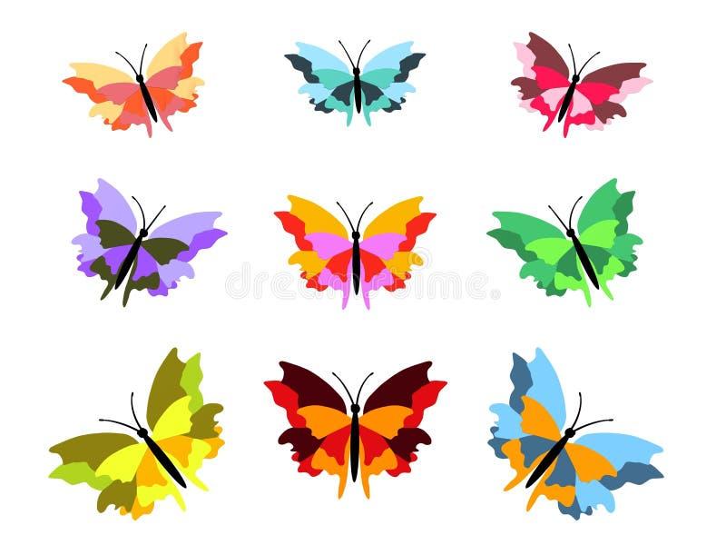 Nove borboletas ilustração royalty free