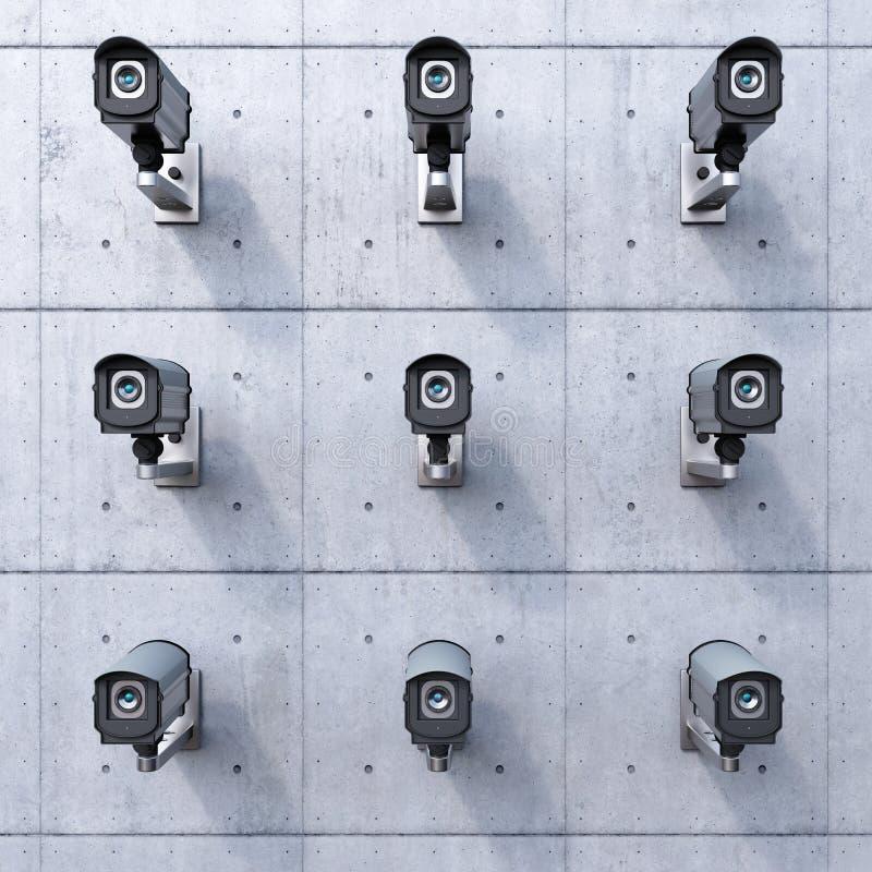 Nove câmaras de segurança ilustração do vetor