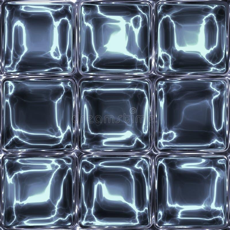 Nove cubos de vidro ou de gelo abstraem claro - imagem azul ilustração royalty free