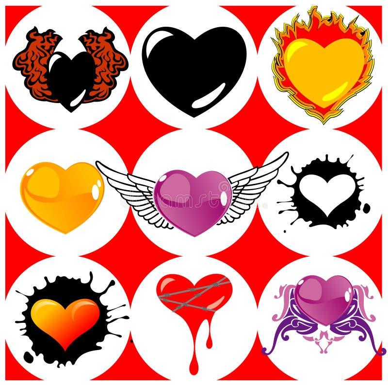Nove cuori, ali e fuochi brandnew. illustrazione di stock