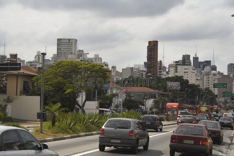 Nove de Julho Street, Sao Paulo fotografie stock libere da diritti