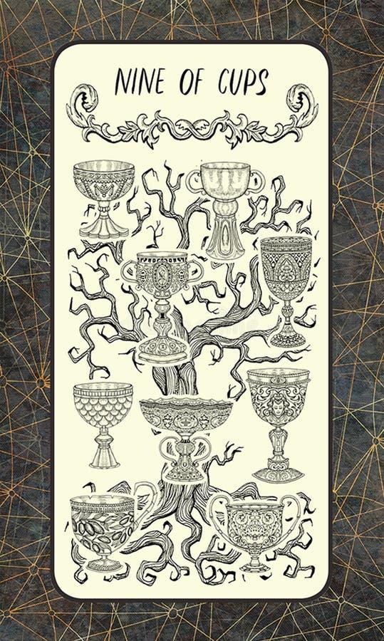 Nove delle tazze La carta di tarocchi magica del portone royalty illustrazione gratis