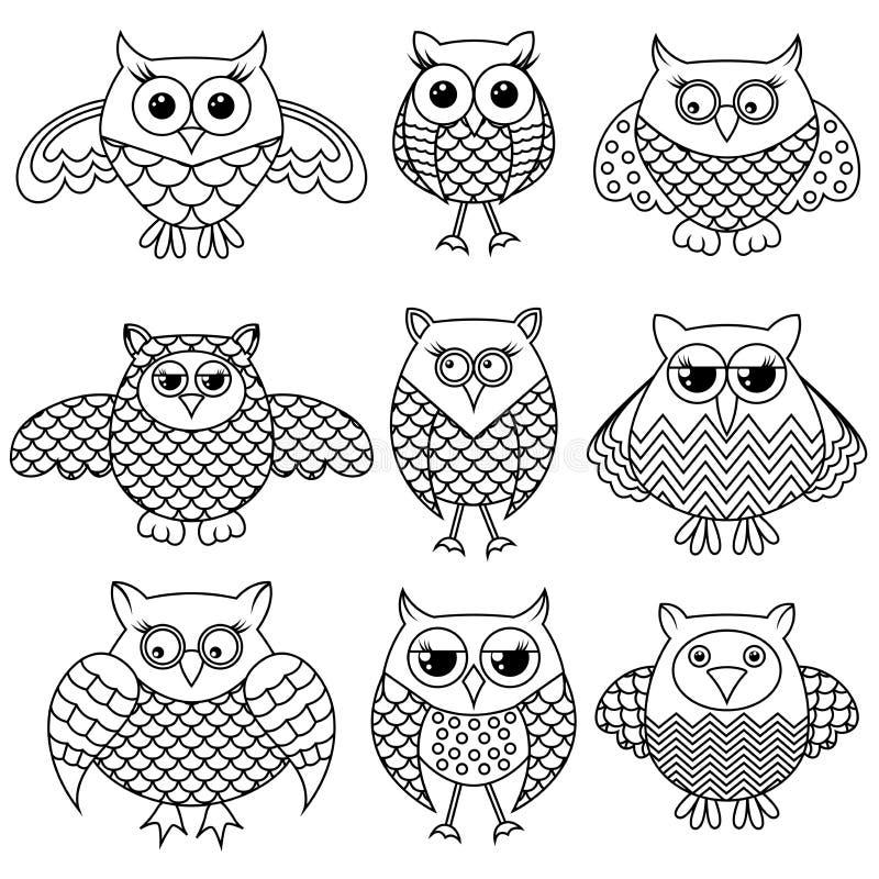Nove esboços engraçados da coruja dos desenhos animados ilustração do vetor