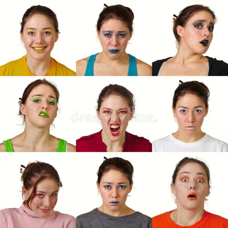 Nove espressioni facciali colorate utili fotografia stock