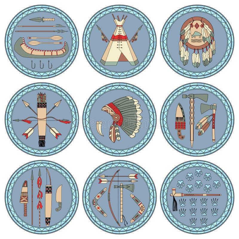 Nove etichette del nativo americano illustrazione - Fogli da colorare nativo americano ...