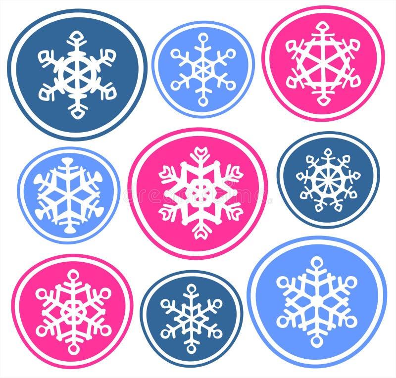 Nove fiocchi di neve illustrazione di stock