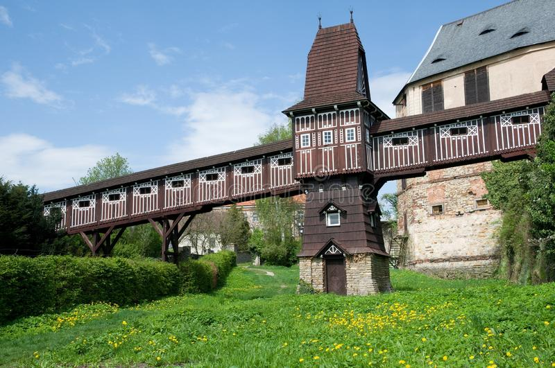 Nove Mesto nad Metuji, Czech republic. Castle and castle garden with wooden bridge from architect Jurkovic in Nove Mesto nad Metuji, Eastern Bohemia, Czech stock photography