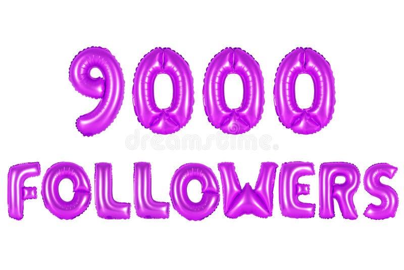 Nove mil seguidores, cor roxa imagens de stock royalty free