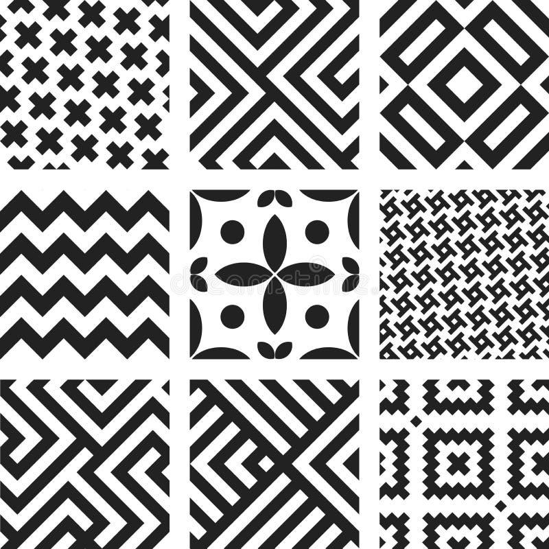 Nove modelli regolari geometrici senza cuciture in bianco e nero illustrazione vettoriale