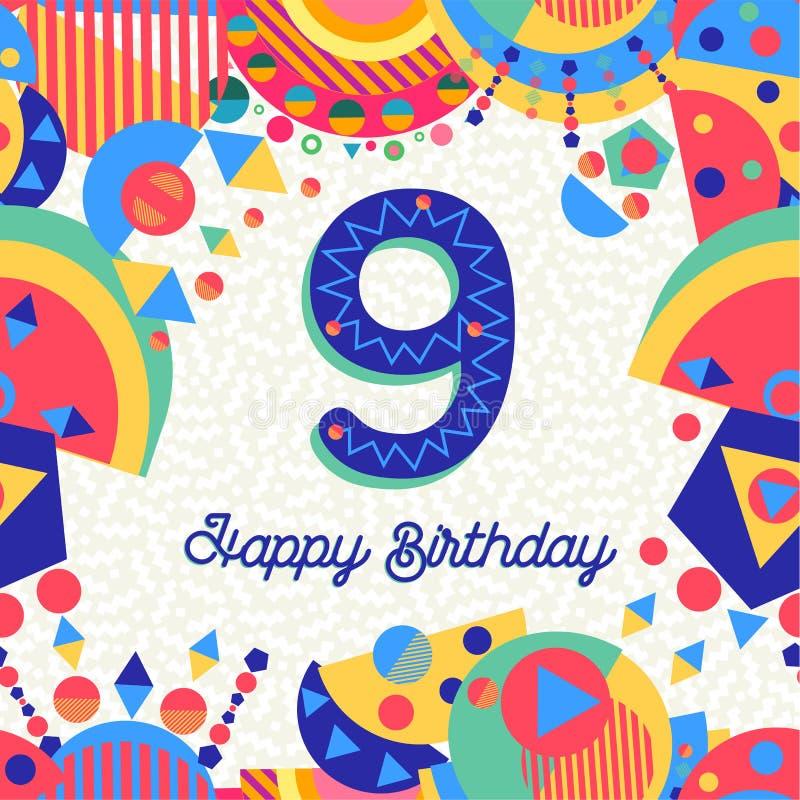Auguri Di Buon Compleanno 9 Anni.Biglietto Di Auguri Per Il Compleanno Di Nove Anni