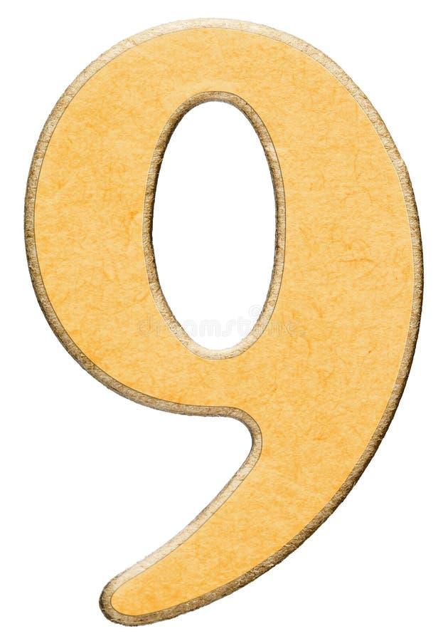 9, nove, numero di legno combinato con l'inserzione gialla, hanno isolato la o fotografie stock libere da diritti