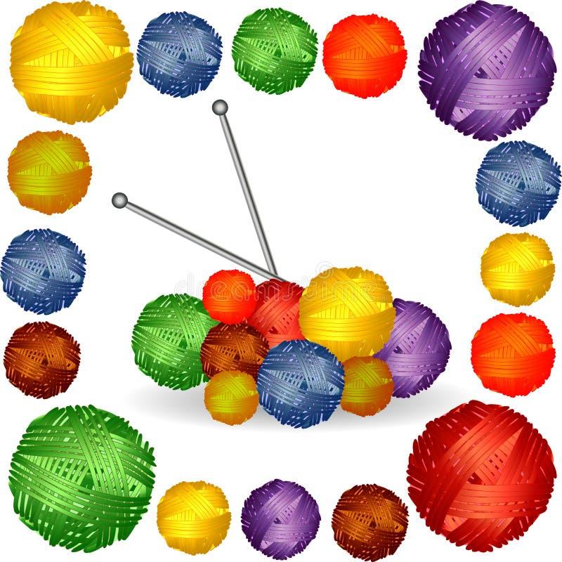 Nove palle di filato multicolore, filo, ferri da maglia attaccati immagini stock libere da diritti