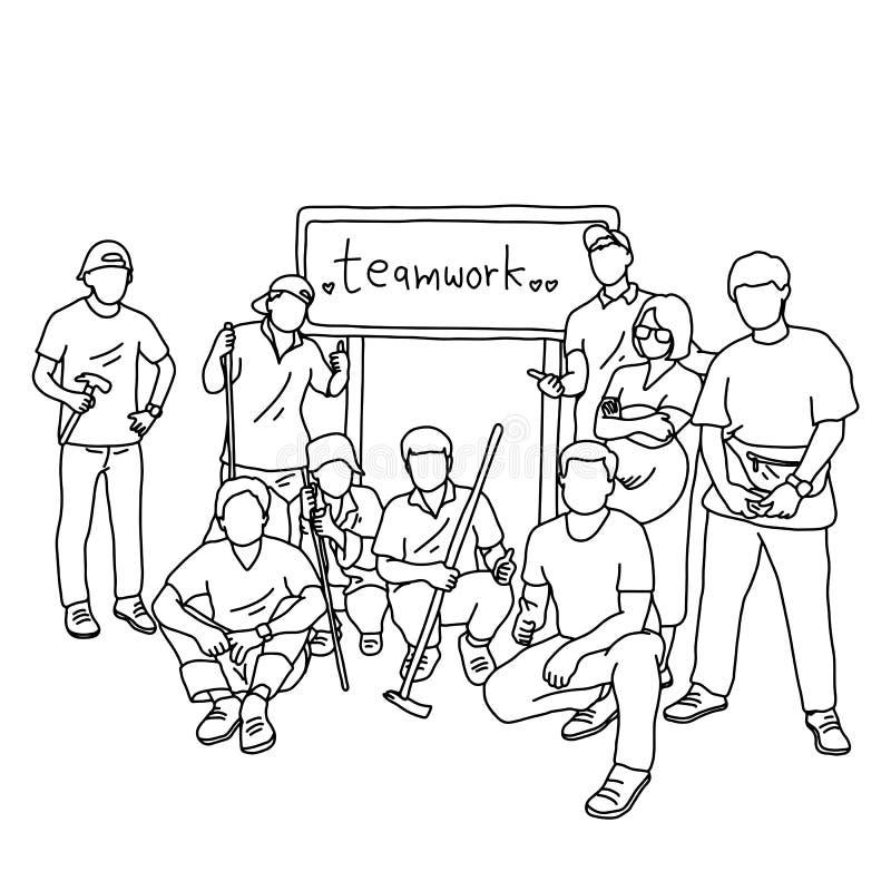 Nove pessoas em ferramentas de terra arrendada do grupo com os trabalhos de equipe da palavra no sinal atrás delas mão da garatuj ilustração do vetor