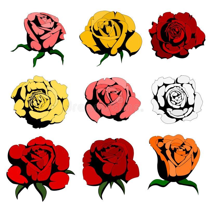 Nove rosas da cor ilustração do vetor