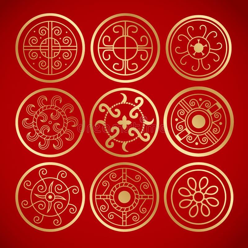 Nove símbolos redondos do vintage chinês ilustração stock
