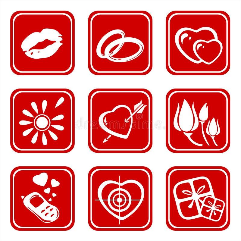 Nove simboli di amore illustrazione di stock