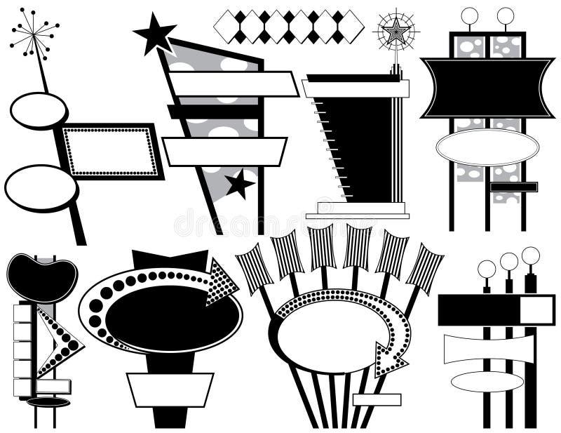 Nove sinais de anúncio retros ilustração do vetor