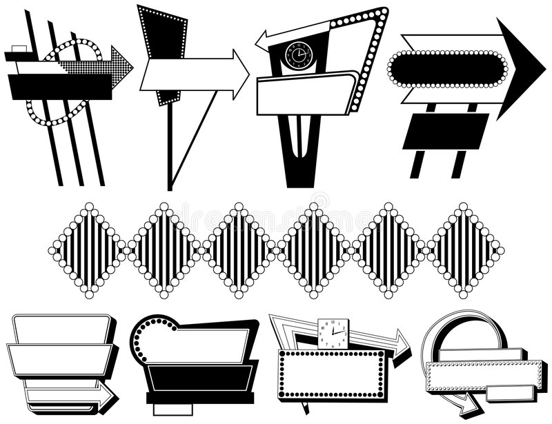 Nove sinais de anúncio retros ilustração royalty free
