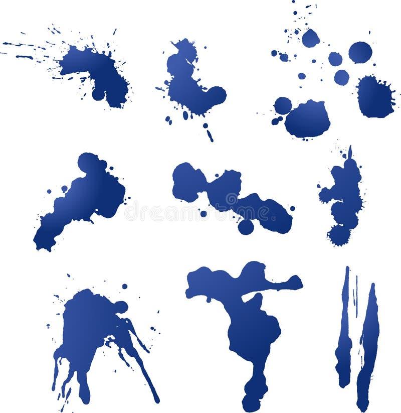 Nove Splatters da tinta e da pintura ilustração do vetor