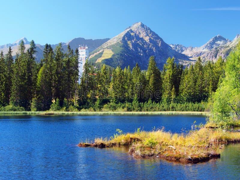 Nove Strbske Pleso and Solisko Peak in High Tatras stock image