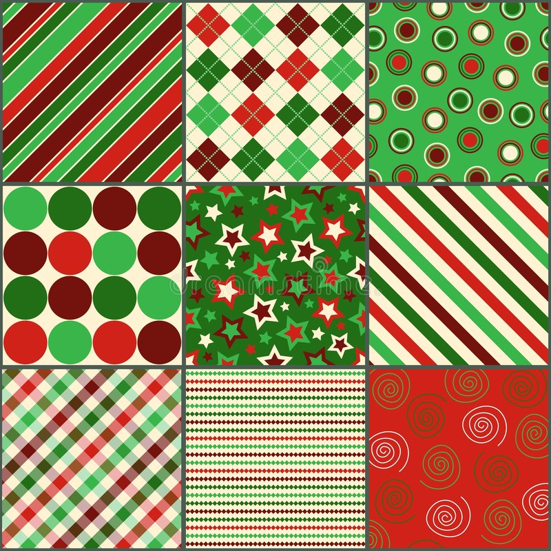Nove testes padrões coloridos Natal ilustração royalty free