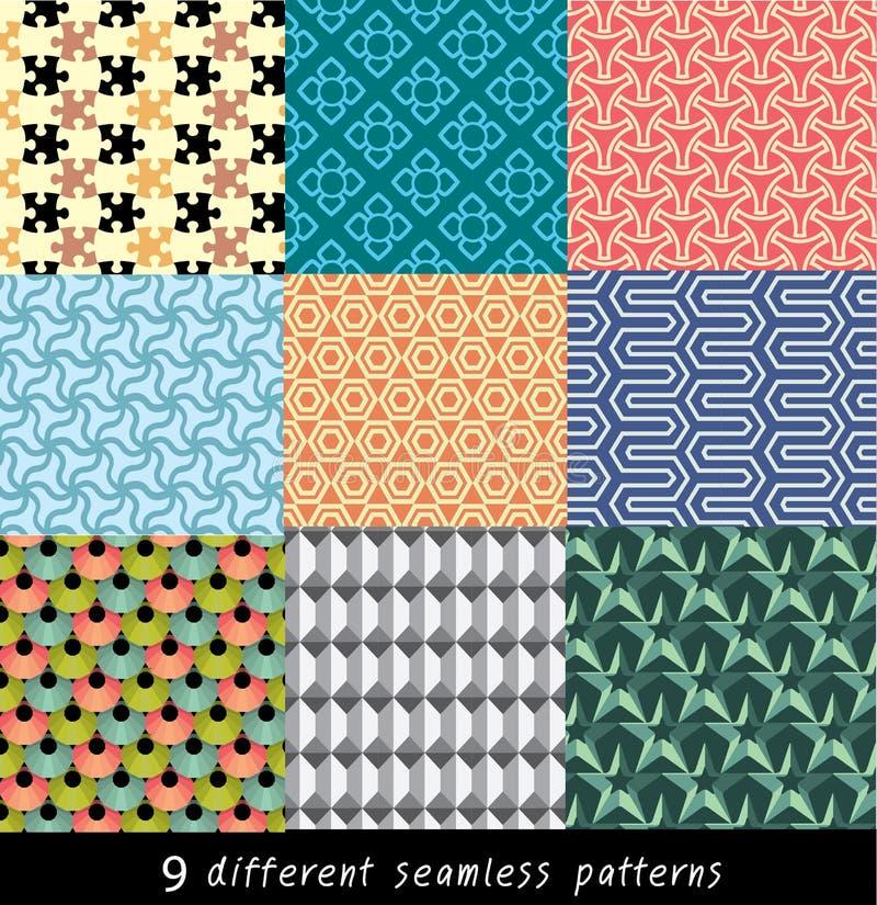 Nove testes padrões geométricos sem emenda ilustração do vetor