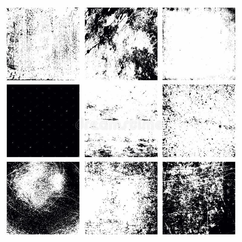 Nove texturas abstratas pretas do Grunge do vetor ajustadas ilustração do vetor