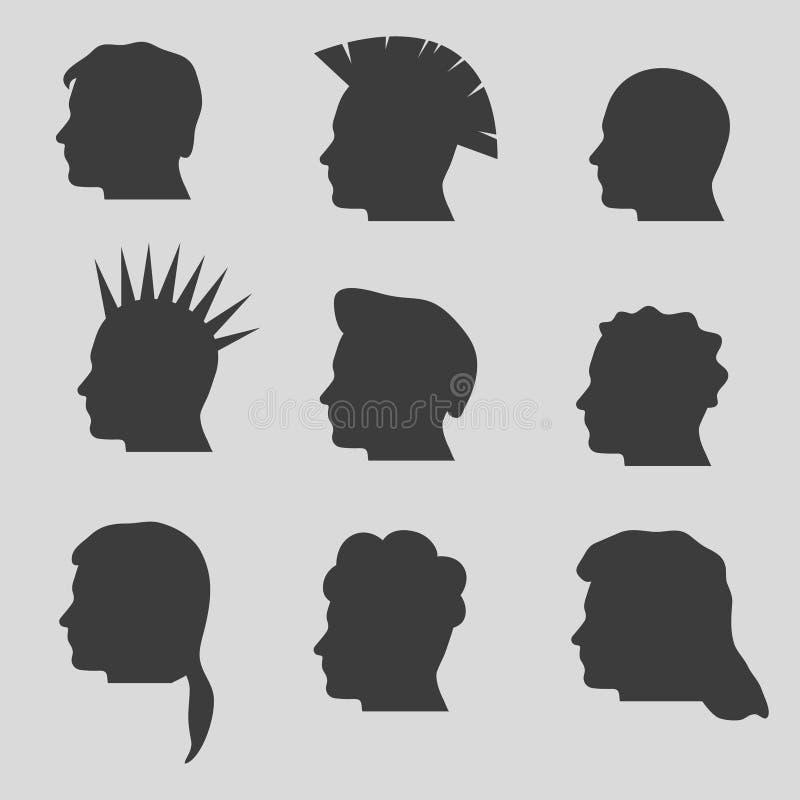 Nove tipos das silhuetas principais dos penteados do homem ilustração royalty free