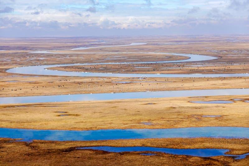 Nove voltas e dezoito curvaturas do rio de Kaidu em Bayanbulak na mola fotos de stock royalty free