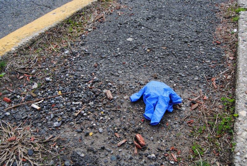 Glove, Disposable Glove, Litter, Coronavirus, COVID-19, Rutherford, NJ, USA stock image