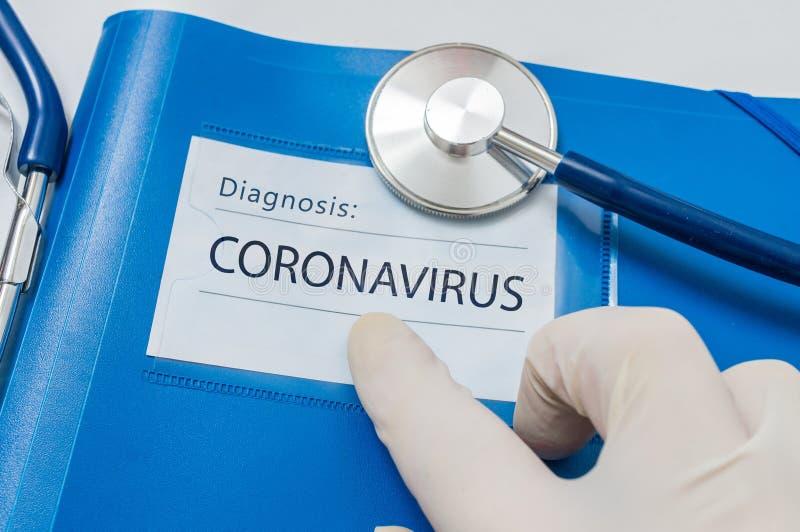Novel coronavirus disease 2019-nCoV skriven i blå mapp royaltyfri bild
