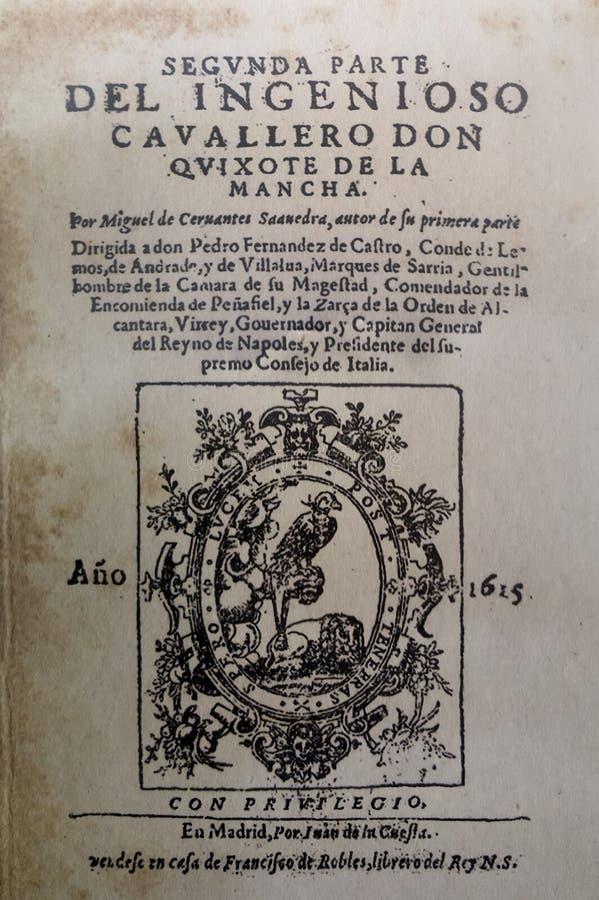 Novela de Don Quixote, primeira edição da segunda parte, 1615 foto de stock royalty free