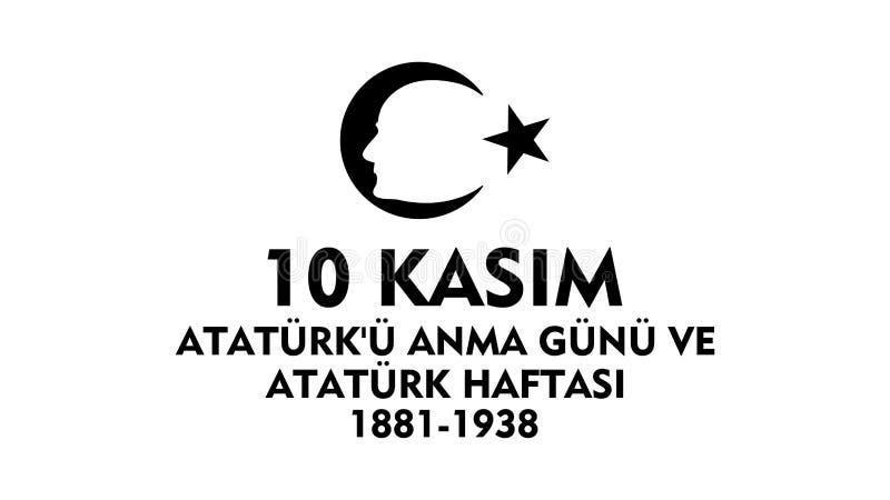 November 10 Ataturk åminnelsedag stock illustrationer