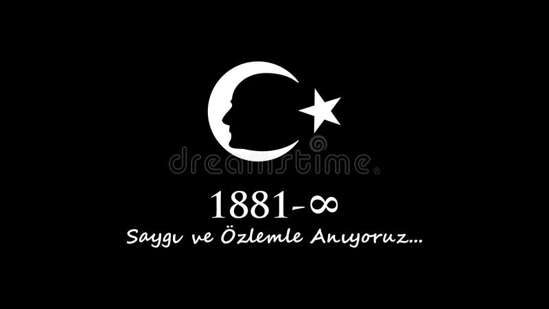 November 10 Ataturk åminnelsedag royaltyfri illustrationer