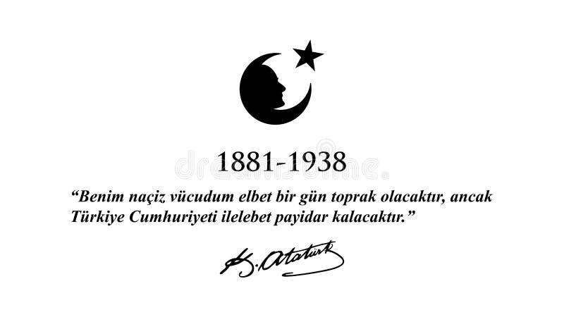 November 10 Ataturk åminnelsedag vektor illustrationer