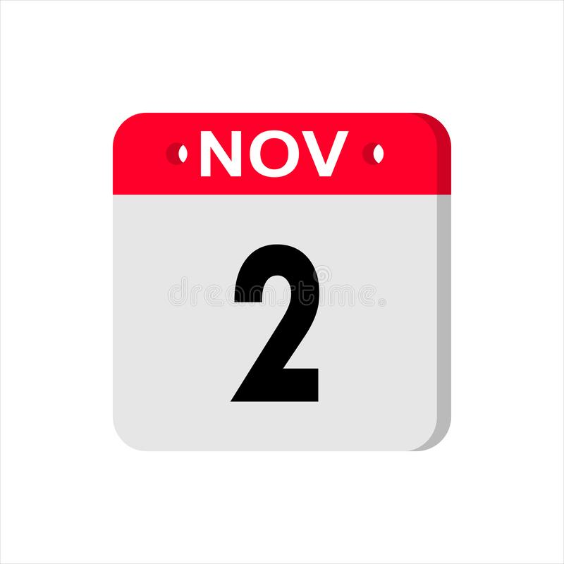 November 2 - Calendar Icon. Calendar Icon with shadow. Flat style. Date, day and month. Reminder. Vector illustration. stock image