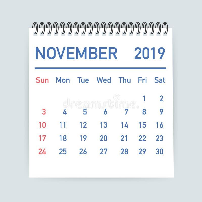 November 2019 Calendar Leaf. Calendar 2019 in flat style. A5 size. Vector illustration. royalty free illustration