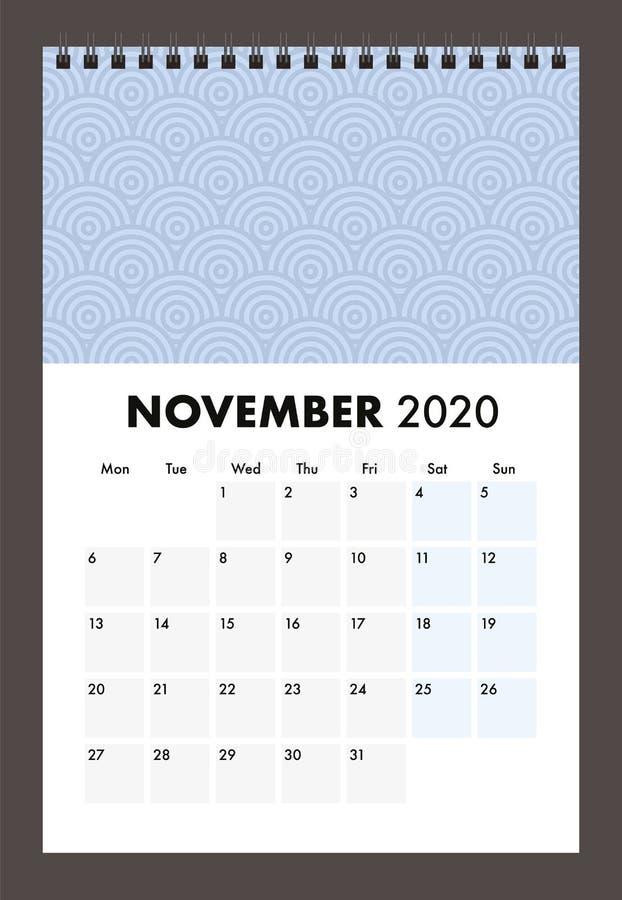 November 2020 calendar with wire band stock photos