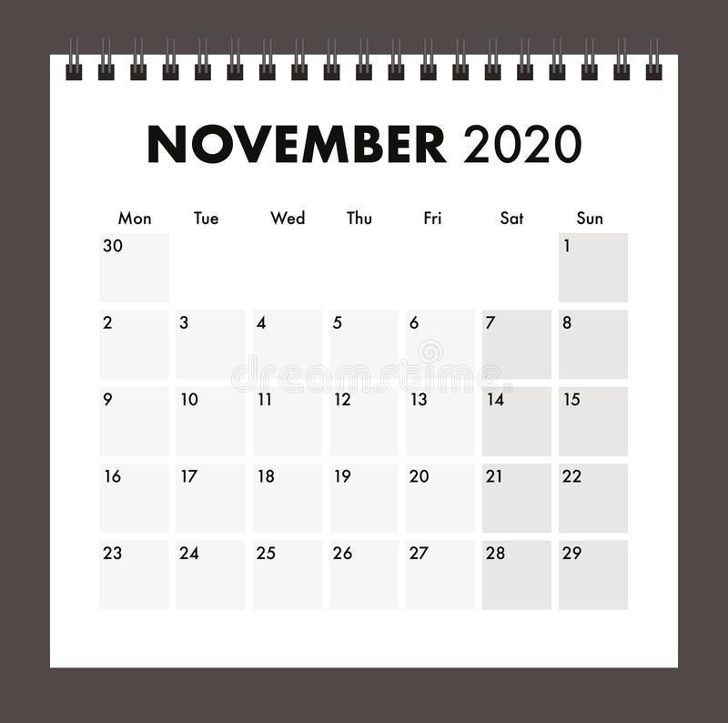 November 2020 calendar with wire band royalty free stock photography
