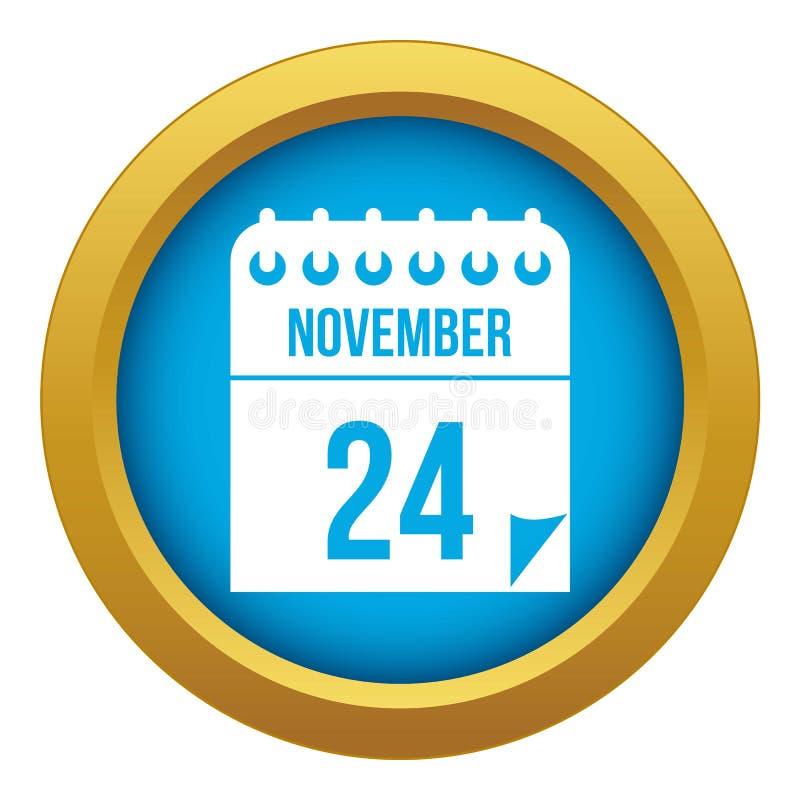 24 november-de blauwe ge?soleerde vector van het kalenderpictogram royalty-vrije illustratie